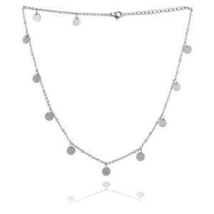 Halskette-Damen-Halsketten-Silber-Muenze-Rund-Scheibe-Coin-Plaettchen-Choker-Kette