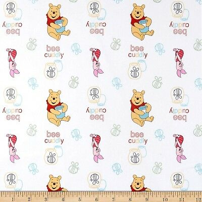Multiple Sizes Bee Cuddly Disney Fabric White Winnie the Pooh /& Friends
