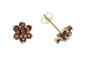 Garnet-Earrings-Yellow-Gold-Stud-Solid-9-Carat-Cluster-Studs-Natural-Stones
