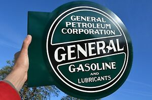OLD-STYLE-GENERAL-PETROLEUM-MOTOR-OIL-amp-GAS-THICK-STEEL-FLANGE-SIGN-MADE-IN-USA