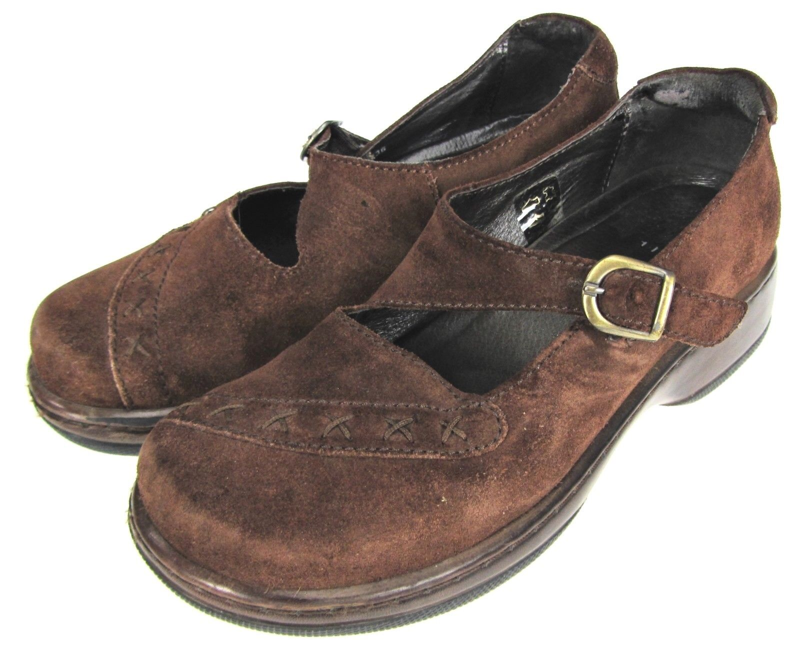 36 Dansko Brown Suede Leather Mary Jane Comfort Clogs Portugal