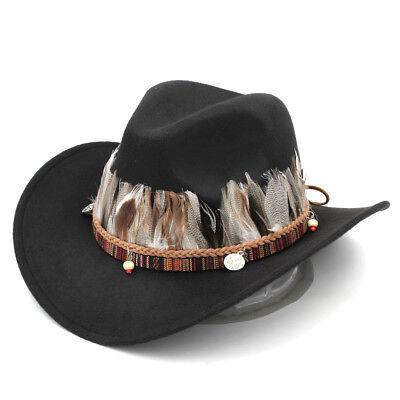 Men Women Fashion Wool Panama Cap Western Horse Riding Wide Brim Cowboy Hat