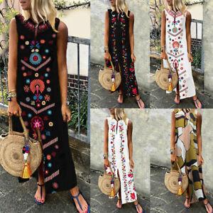 Mode-Femme-Floral-Col-V-Sans-Manceh-Party-Club-dress-Jupe-Robe-Maxi-Longueur