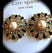 $125 Kate Spade New York Tuxedo Pearls Stud Earrings Black Gold formal bridal