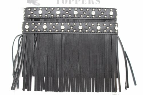 Retro Western Women Boot Topper Pair Ethnic Black Fringes Silver Studs Bohemian