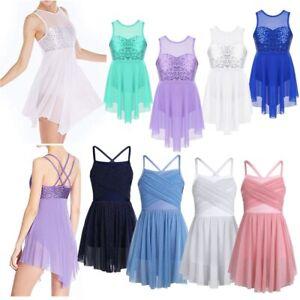 Girls Sequins Floral Dance Dress Leotard Modern Lyrical Skirt Dancewear Costume