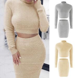 Women-Warm-2Pcs-Bodycon-Long-Sleeve-Sweater-Crop-Tops-Midi-Skirt-Set-Dress-Party