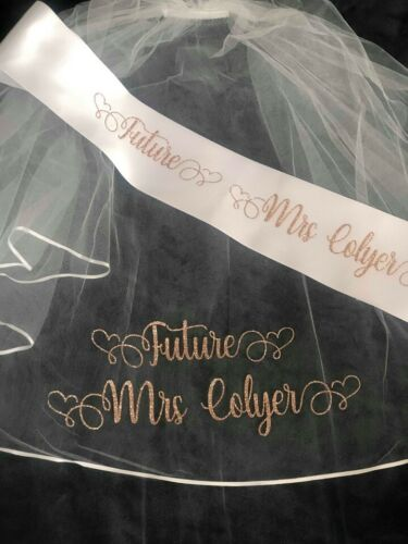 Bride To Be Personalised Sash Hen Party Veil Personalised Veil