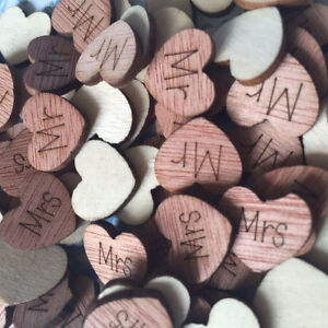 Details About Rustic Hollow Small Wooden Hearts Love Wedding Table Decorations Confetti Go9