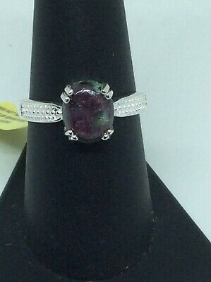 stone ring US size-6.5 Sterling Silver Ring R-957 gift ring, Handmade Ring boho Ring,ruby zoisite Gemstone Ring ruby zoisite Ring
