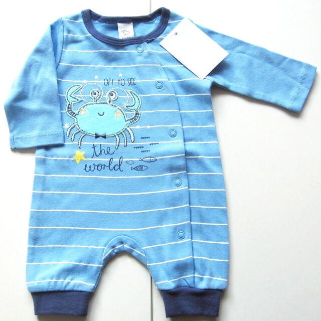 Sommer Einteiler Gr.50 baby Club NEU 100% Baumwolle Strampler Frühchen blau ssv