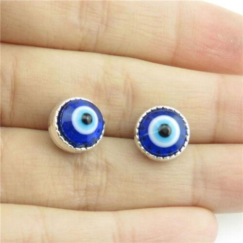 21065 25pcs Alliage Argent Antique Forme Bracelet Acrylique Facted Eye Spacer Beads