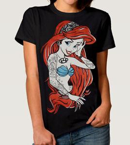 Ariel-la-petite-sirene-T-shirt-punk-rock-Disney-Tee-shirt-femme-homme-toutes-tailles