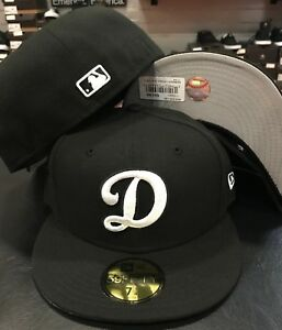1a75ddc9 New Era Cap 59FIFTY Los Angeles Dodgers D Black White MLB Hat Fitted ...
