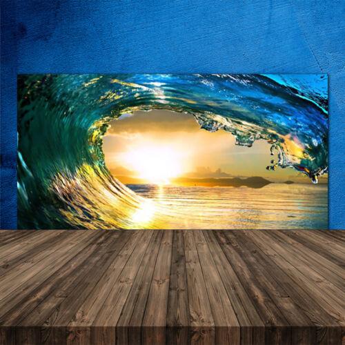 Küchenrückwand aus Glas ESG Spritzschutz 120x60cm Welle Meer Sonnenuntergang