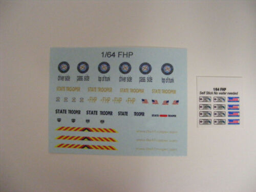 Florida Highway Patrol 1//64 Waterslide Decals with self stick License Plates