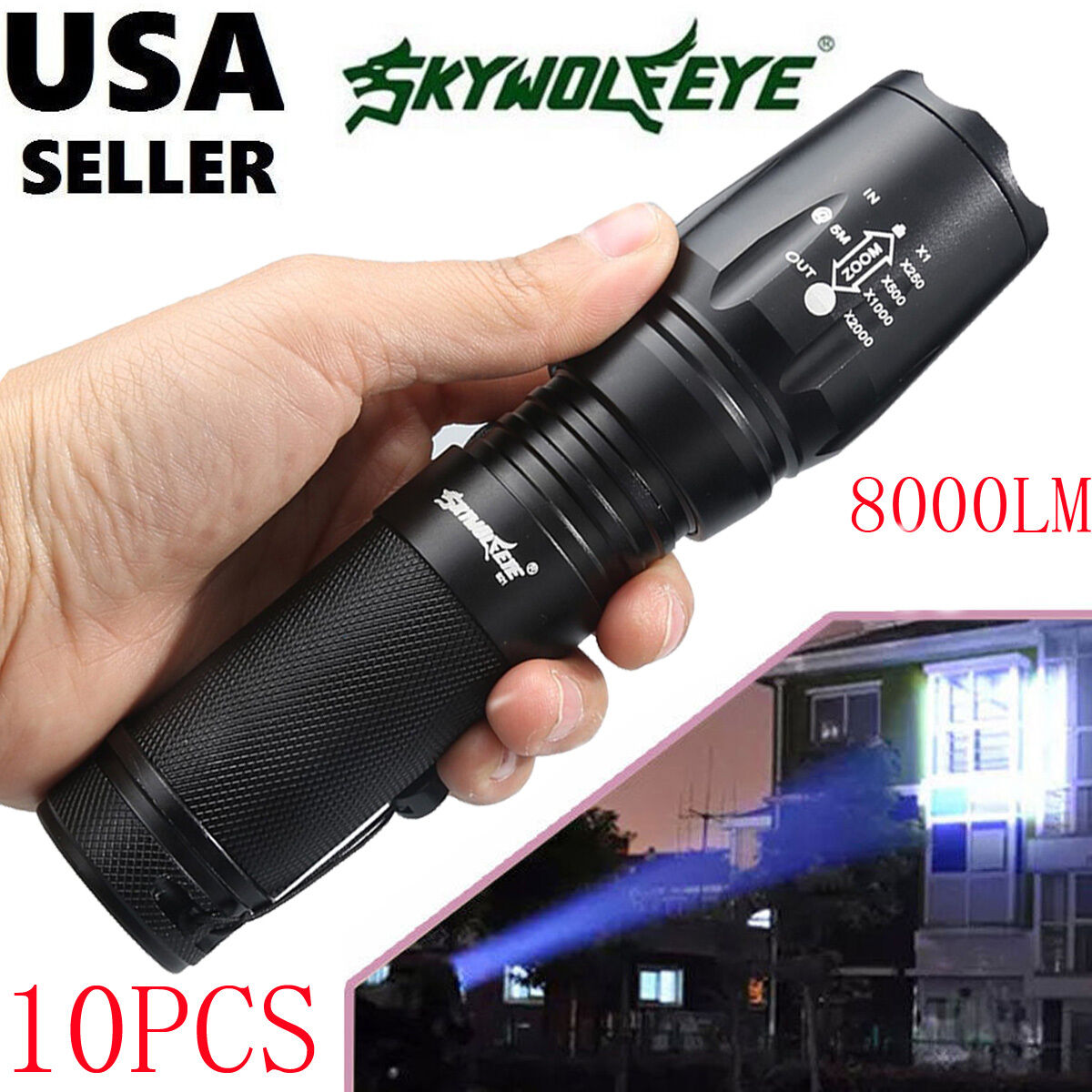 10PCS G700 8000 Lumens 5 Modes T6 Zoomable LED 18650 Flashlight Torch Lamp LOT