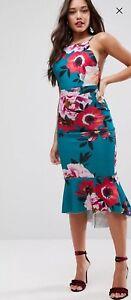 f5d7004f17 Image is loading ASOS-Premium-Floral-Pinny-Midi-Dress-With-Pephem-