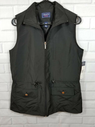glissière Chaps Denim manches Black pour Pockets Nwt sans femmes fermeture M Gilet à Jacket Taille complète A01w4