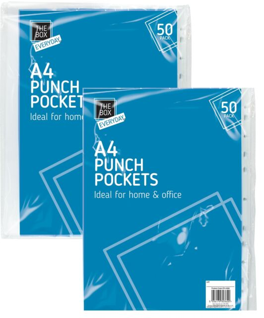 A4 Clear Plastic Punched Pockets Folders Filing Sleeves Divider Wallets File UK