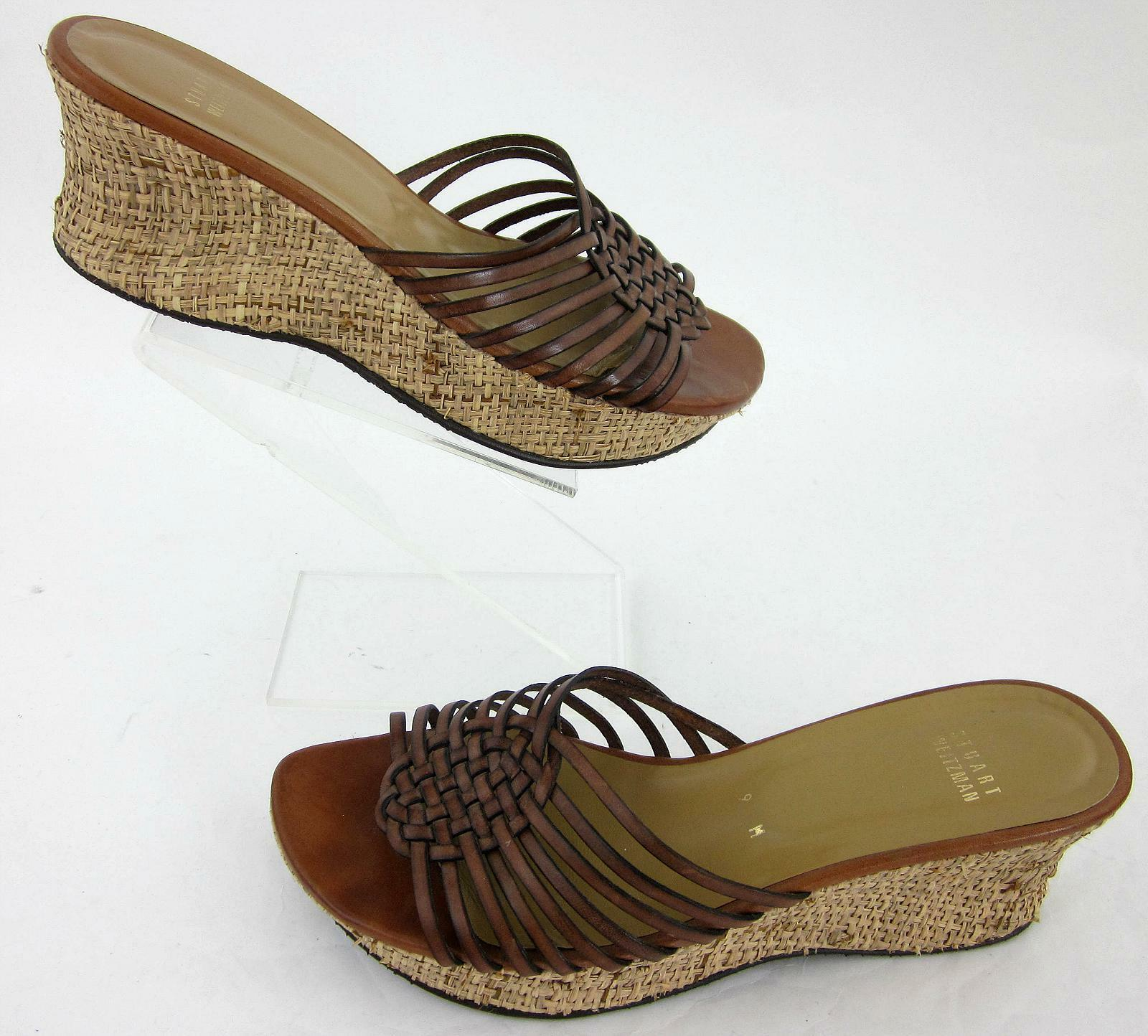 Stuart Weitzman Platform Wicker Wedge Sandals Chestnut Leather Sz 9M