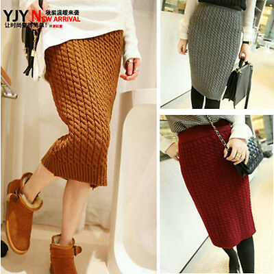 Retro Twist Pattern Sweater Pencil Skirt Knit Package Hips Slim Fit Short Skirts