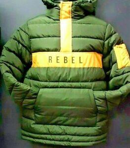 Unisex-Rebel-Minds-Bubble-Jacket-Olive-Green-Yellow