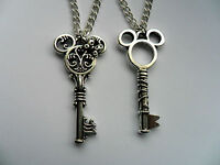 Lovely Mickey and  Minnie Mouse Key Silver Chain Necklace