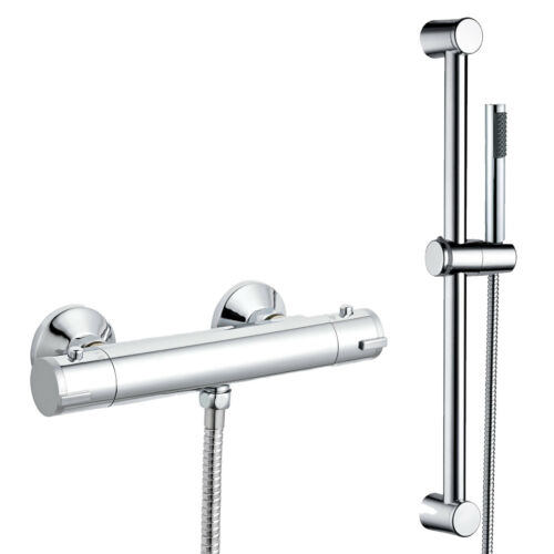 Round Chrome Exposed Thermostatic Shower Mixer Bar Valve Shower Slider Rail Kit