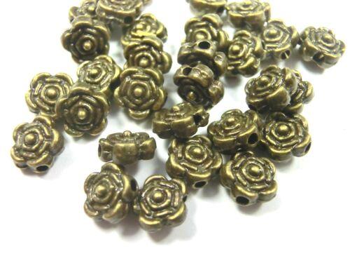 150 Métal Perles Spacer 6 mm couleur BRONZE FLEUR ROSE #s398