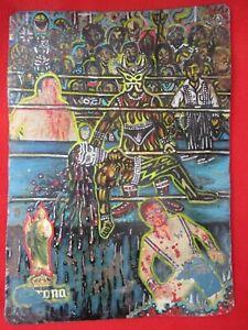 Mexican-Outside-Folk-Art-Wild-amp-Unique-Luchadore-Wrestler-Collage-Tin-Retablo