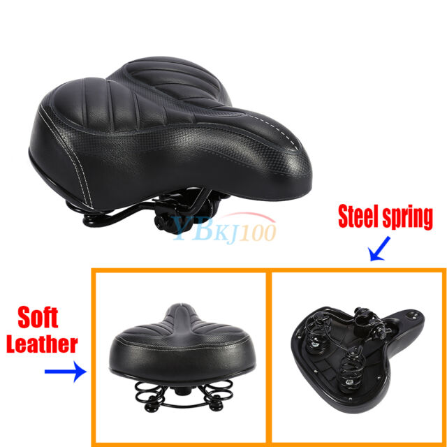 UK  Wide Comfy Cushioned Bike Seat Soft Padded Bicycle Gel Universal Saddle