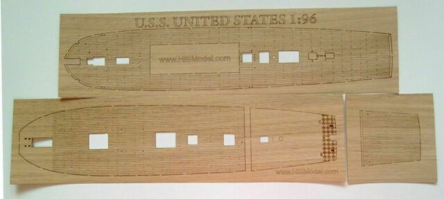 laser cut wooden deck for model Revell USS United States 1:96