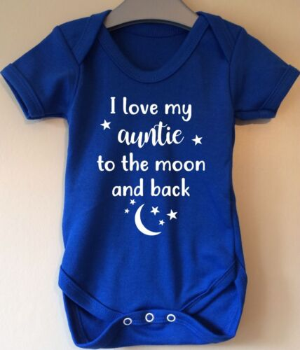 I LOVE MY AUNTIE TO THE MOON AND BACK CUTE AUNTY AUNT BABY BODY VEST BABY GRO