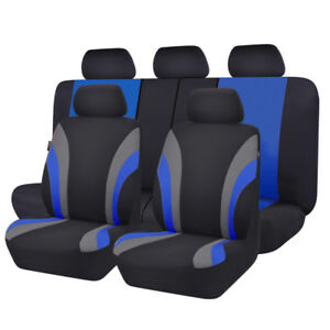 Universal-11PCS-Black-Blue-Car-Seat-Covers-for-TRUCK-SUV-Polyester-Bench-Split
