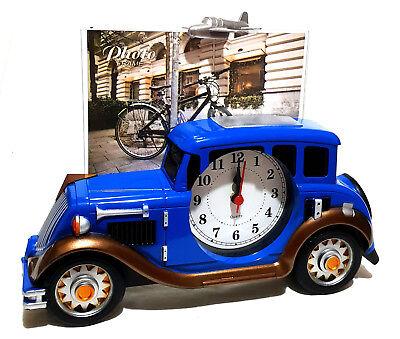 Design Retrò Oldtimer Auto Quartz Orologio Kaminuhr Con Cornici Foto Fotouhr Nuovo-