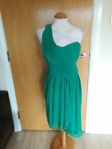 Ladies-H-amp-M-Dress-Size-14-Green-Chiffon-One-Shoulder-Party-Evening-Wedding