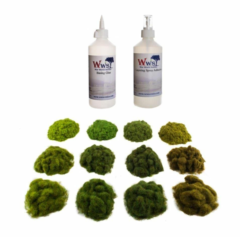 WWS Four Seasons Static Grass & Glue Kit –Model Railway Wargame Scenery Diorama