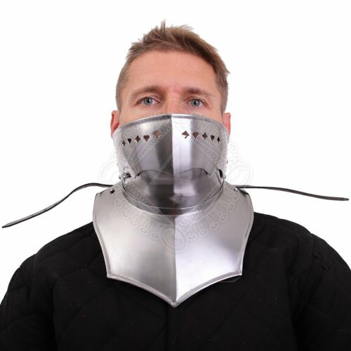 Medieval Larp Gothic steel Armor Suit Gorget Closed Gorget with foldable Bevor