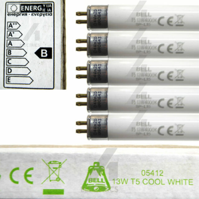 5x 13 watt T5 21 inch fluorescent tube cool white light 13W 530mm 16mm Dia. BELL
