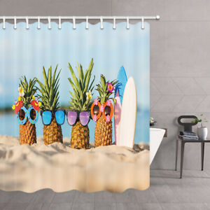Nature Shower Curtain Night Beach Bathroom Set Accessories Waterproof 71x71/'/'