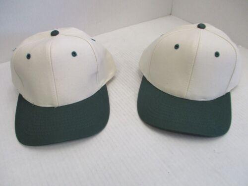 A192 1 PAIR NEW VINTAGE NATURAL CAPS//HATS-DARK GREEN BILLS//ACCENTS-6 PANEL-MOHRS