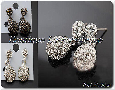 Ohrringe Shamballa Ohrstecker  Kristall Kugeln 1 Paar Paris Tropfen Zikonia