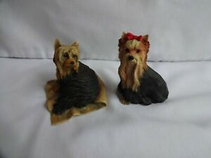 Vintage-Collection-0f-2-Yorkshire-Terriers-Dog-Ornaments-Height-6-cm-amp-7-cm