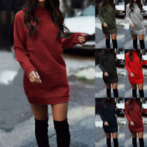 Lady-039-s-Knitted-Baggy-Sweaters-Jumper-Mini-Dress-Winter-Long-Pullover-Top-Shirts