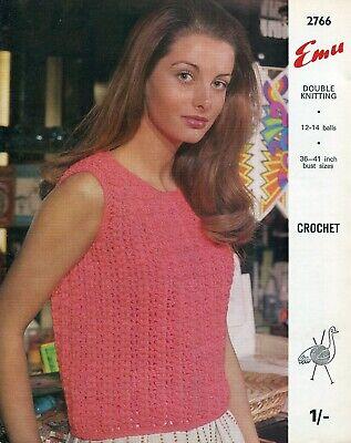 Emu 2766 Lady Sleeveless Blouse DK 36-41in Vintage Crochet Pattern