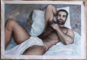 Tableau Peinture Erotique Huile Sur Toile Homme Nu Nude Male Oil Painting Ebay