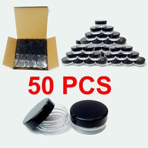 5G-5ML-Cosmetic-Small-Sample-Plastic-Jars-50-Pack-Clear-cream-Makeup-BPA-Free