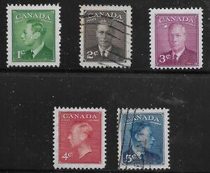 Canada-Scott-284-88-Singles-1949-Complete-Set-FVF-Used-MH