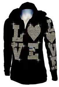 88d7a18bec7 Lady Plus Size Love Love Zip up Hoodie Sweater with Sequins Front ...